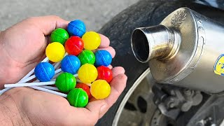 EXPERIMENT COLORFUL LOLLIPOPS IN 100°C MOTORCYCLE EXHAUST