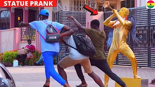 😂😂😂WHAT A SCATTER! Golden Angel Statue Prank + Top Reactions.
