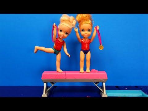 Gymnastics ! Elsa & Anna toddlers - competition - Barbie