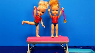 Gymnastics ! Elsa & Anna toddlers  competition  Barbie