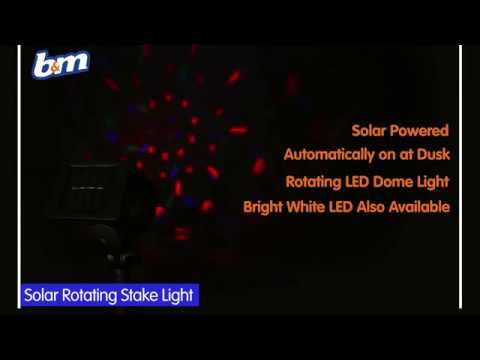 Solar powered rotating stake light multi colour bm stores