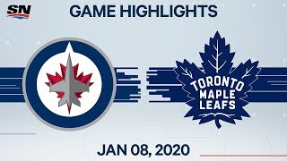 NHL Highlights | Jets vs Maple Leafs - Jan. 8, 2020