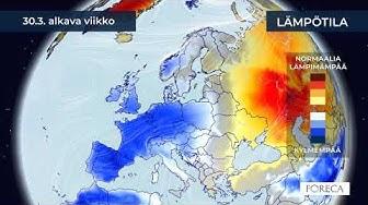 Kuukausiennuste lämpötiloista 24.3.2020