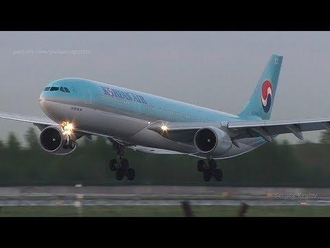 Airbus A330-300 Korean Air landing. Calm evening, birds are singing.