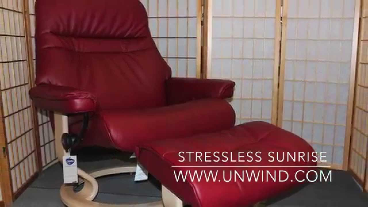 Stressless Sunrise Recliner Ruby Red Classic Leather Youtube