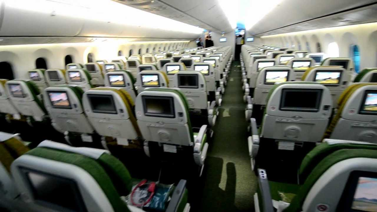 ethiopian airlines boeing 787 dreamliner in fra economy class cabin youtube