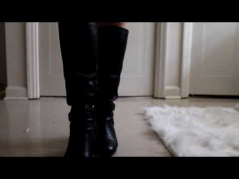 ASMR-Black Leather boots with buckles