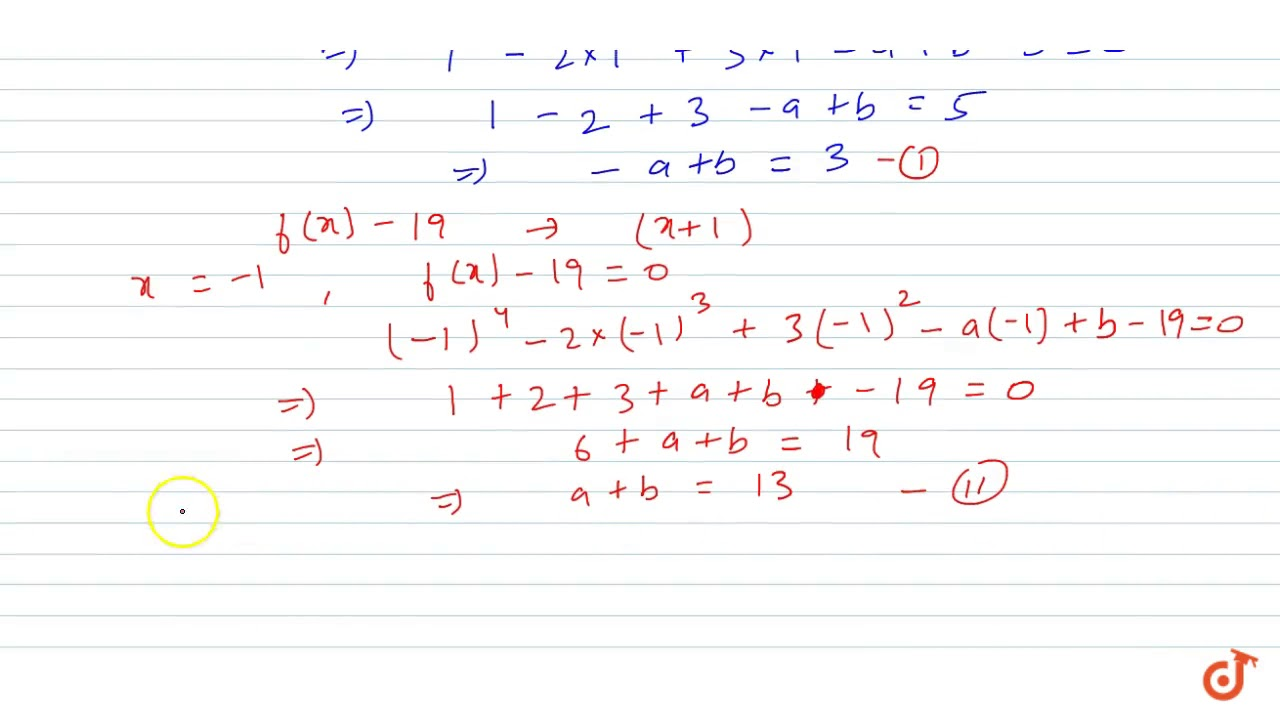 a divided by b_The polynomials` f(x)=x^4 - 2x^3 + 3x^2 -ax + b ` when divided by `(x-1)`and `(x+1 ...