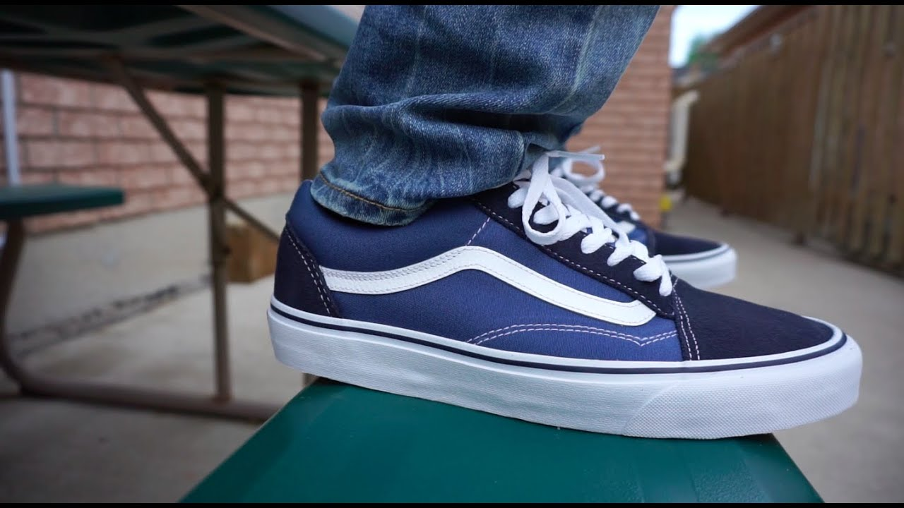 old skool vans black and blue