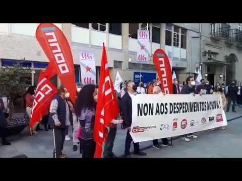 Protesta en Lugo contra os despedimentos no BBVA