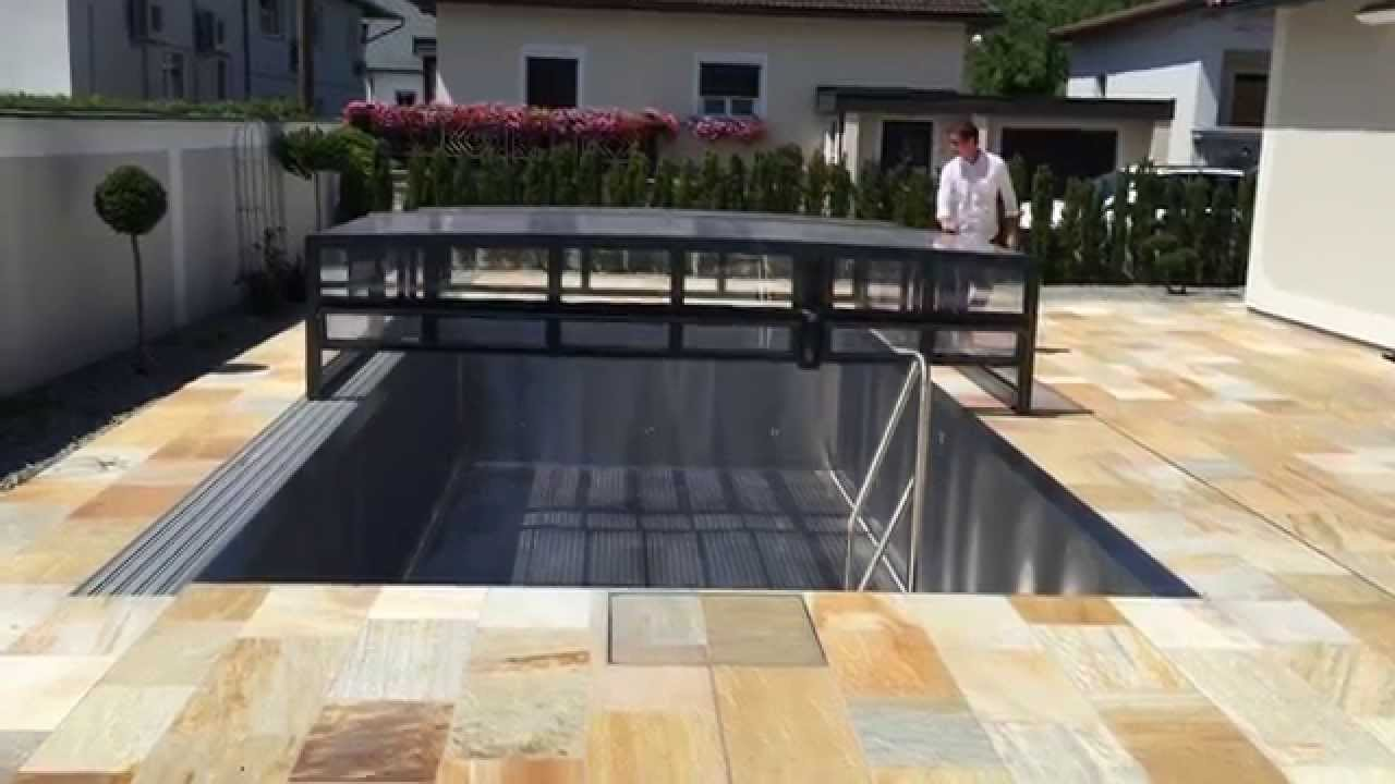 laufschienen gef hrte pool berdachung youtube. Black Bedroom Furniture Sets. Home Design Ideas