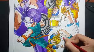 Speed drawing the  Evolution of trunks  from  Dragon Ball Z-How to draw SSJ