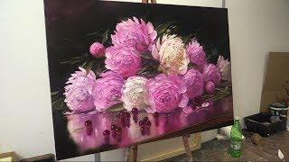 Пионы и вишня.  Масляная живопись. Peonies and cherries. Oil painting. Oleg Buiko