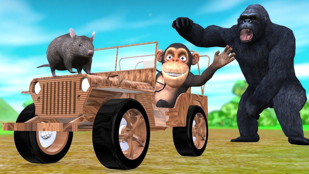 चिंटू बंदर और चूहा जादुई लकड़ी की कार और गोरिल्ला हिंदी कहानी - Panchatantra Moral Stories In Hindi