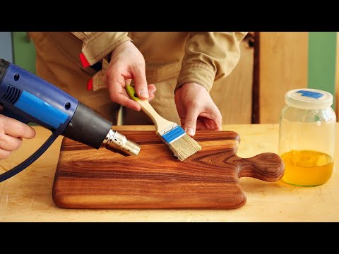 4K Вощение разделочной доски из вяза, Beeswax For Cutting Board