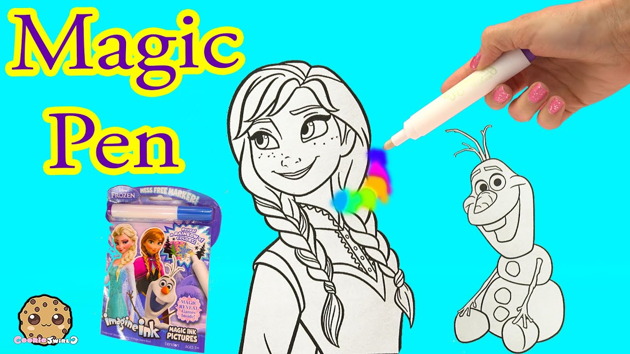 disney frozen imagine ink rainbow color pen art book with surprise pictures cookieswirlc video youtube - Magic Ink Coloring Books