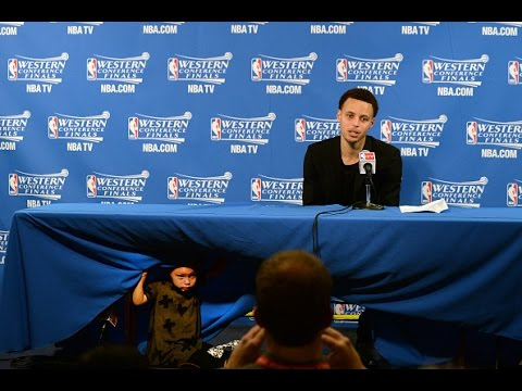 Stephen Curry Postgame Interview with his Daughter RIley Curry Taking Over