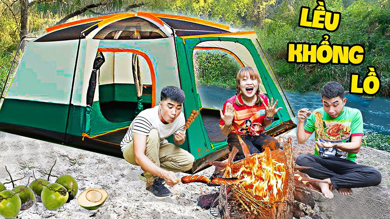 Hà Sam Thử Thách Cắm Trại Trong Lều Khổng Lồ Trong Rừng Sâu