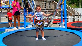Kids Jumping Trampoline Challenge Family Fun Playtime with Caleb! TRAMPOLINE PARK FOR KIDS!
