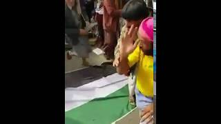 انصار المخلوع يرقصون على علم دولة الامارات في مهرجان السبعين بصنعاء