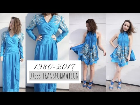 80s Dress Transformation Making A Formal Mini Dress Youtube