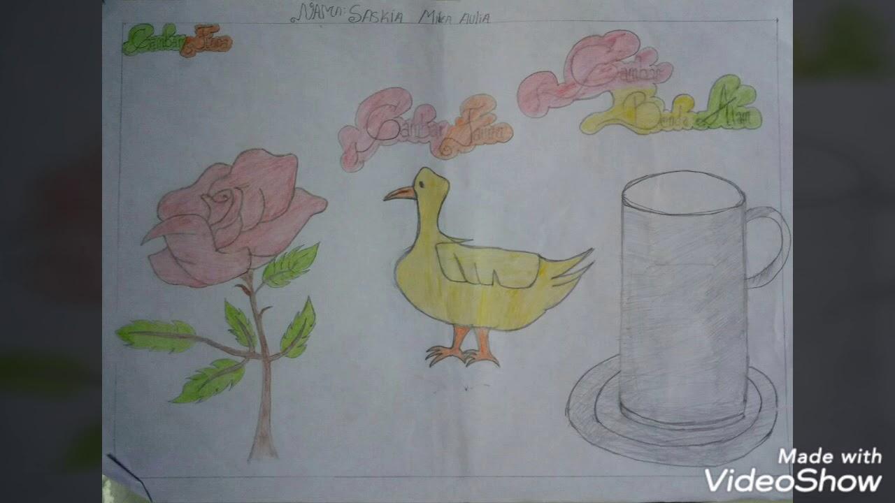 Praktek Menggambar Flora Fauna Benda Alam Smp N 2 Padang Tualang Youtube