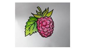 cara menggambar buah raspberry