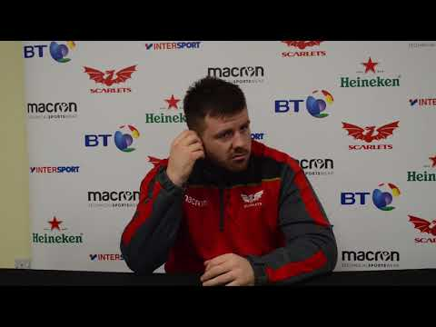 Prop Rob Evans at today's Scarlets press conference ahead of Dragons game