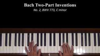 Bach Two-Part Inventions No.  2 Piano Tutorial
