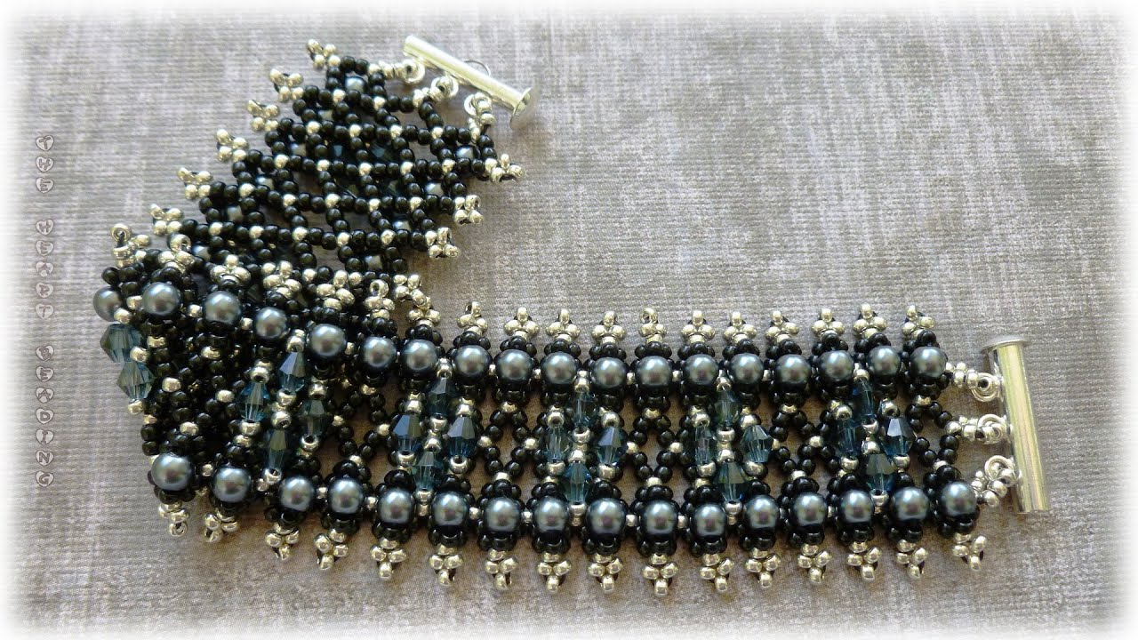 theheartbeading tutorial netting bracelet with crystals