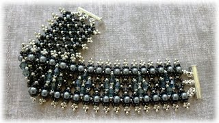 TheHeartBeading: Tutorial Netting Bracelet with Crystals and Pearls