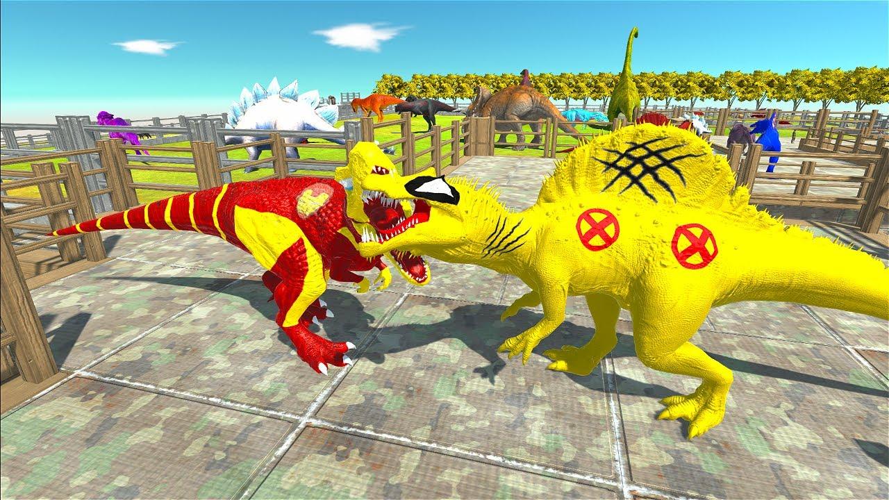 Wolverine Spinosaurus Giant Dinosaur Park Death Run - Animal Revolt Battle Simulator