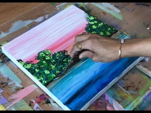 Demonstration Of Easy Abstract Landscape / Satisfying / Relaxing / Acrylic Landscape / Art Therapy