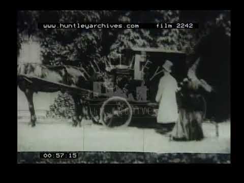 Cab driver has endless passengers, 1900's. Archive film 2242