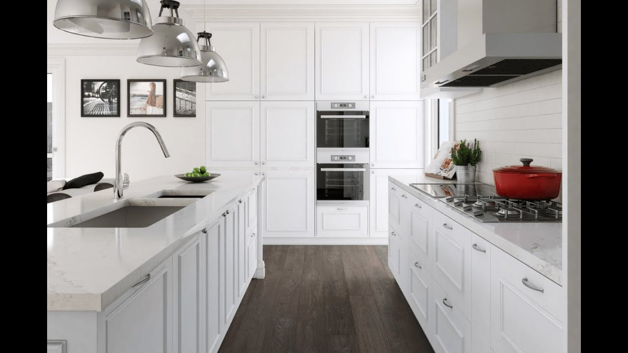 White Kitchen Cabinets And Countertops - YouTube