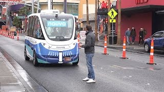 Прокатился на первом в мире автономном автобусе без водителя.