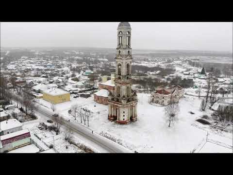 Колокольня Никитской церкви в Поречье-Рыбном видео с коптера Экспедиция Кострома 2020 Autokraeved.ru