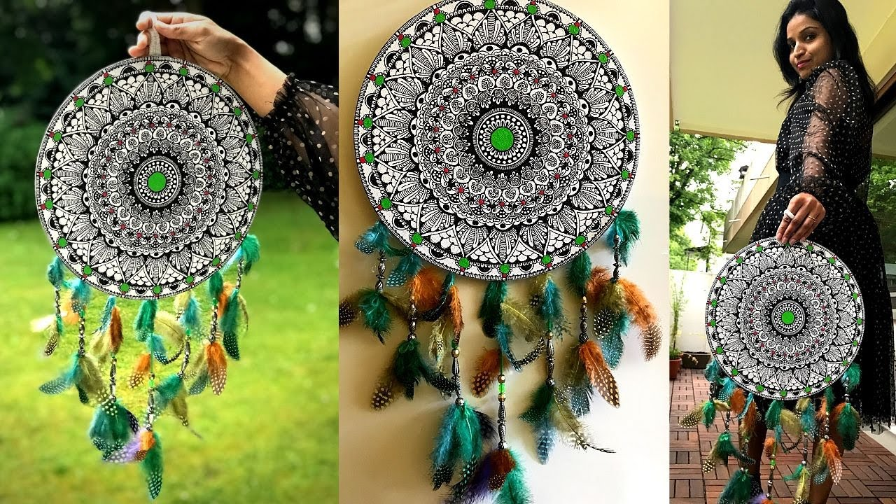 DIY Mandala Dream Catcher | Mandala Art |  Make Dreamcatcher with Mandala technique