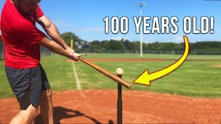 100 YEAR OLD BASEBALL BAT HOME RUN CHALLENGE! IRL Baseball Challenge
