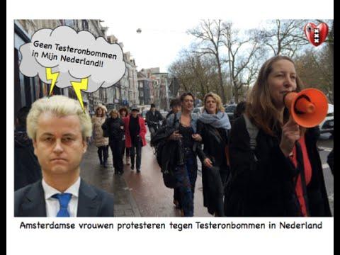 Amsterdamse vrouwen prosteren tegen 'Testeronbommen' in Nederland.