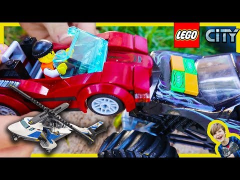 Lego Police High Speed Chase and Monster Truck Pretend Play