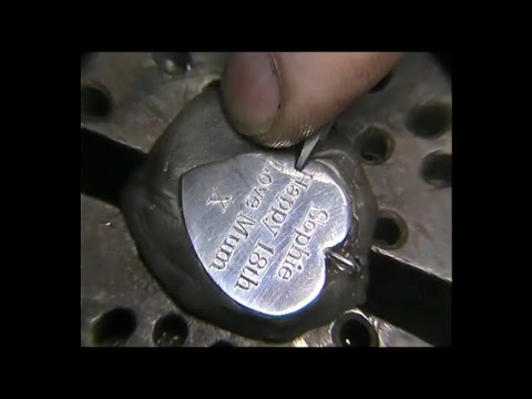 Hand engraving Silver Heart Pendant with the Homemade engraving machine
