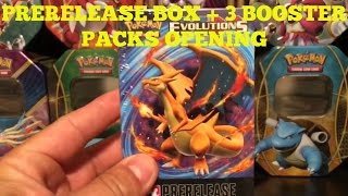 pokemon xy evolutions prerelease box 3 booster packs opening