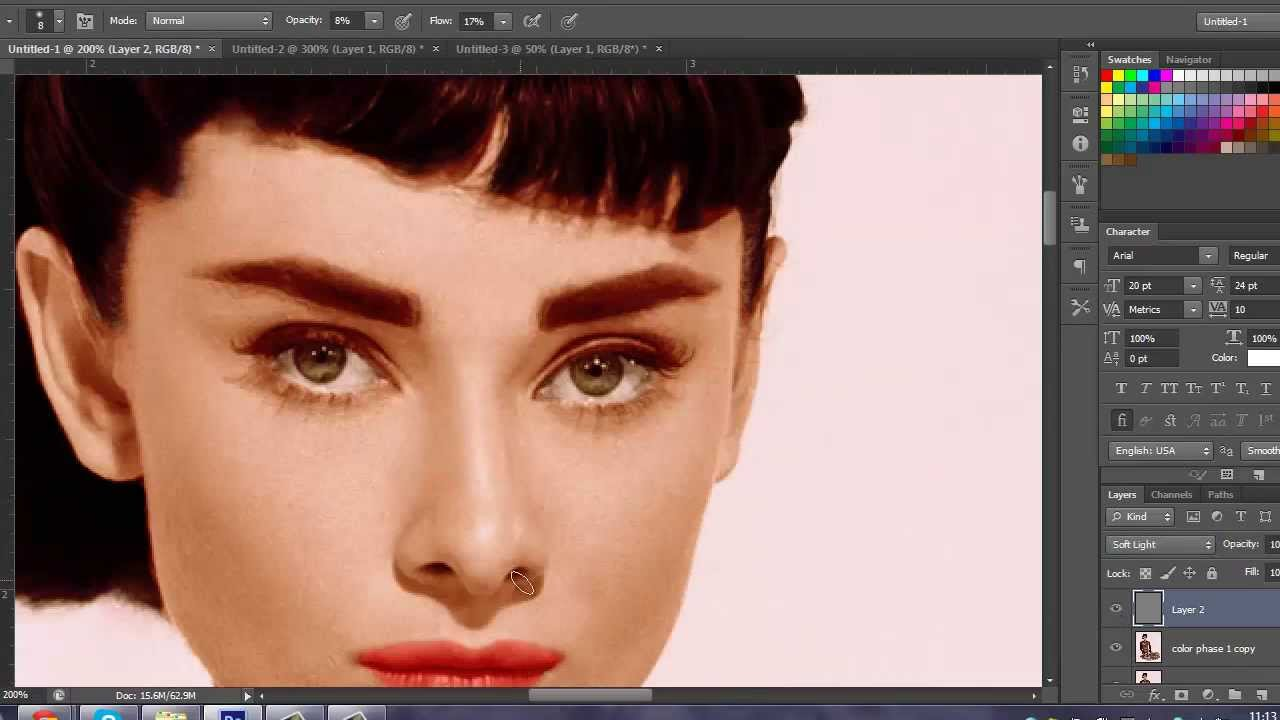 Audrey Hepburn - Adding Color in Photoshop - YouTube