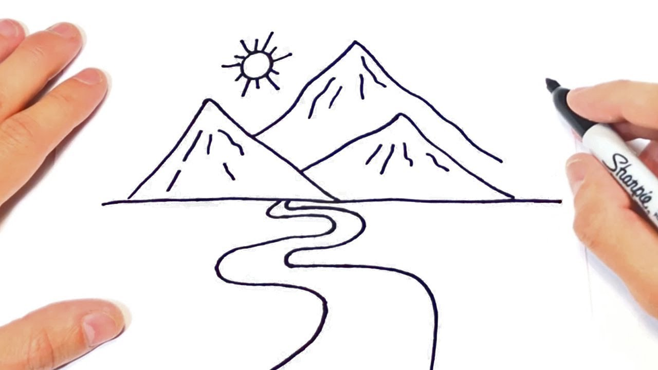 How to draw a Mountain Step by Step   Landscape Drawings