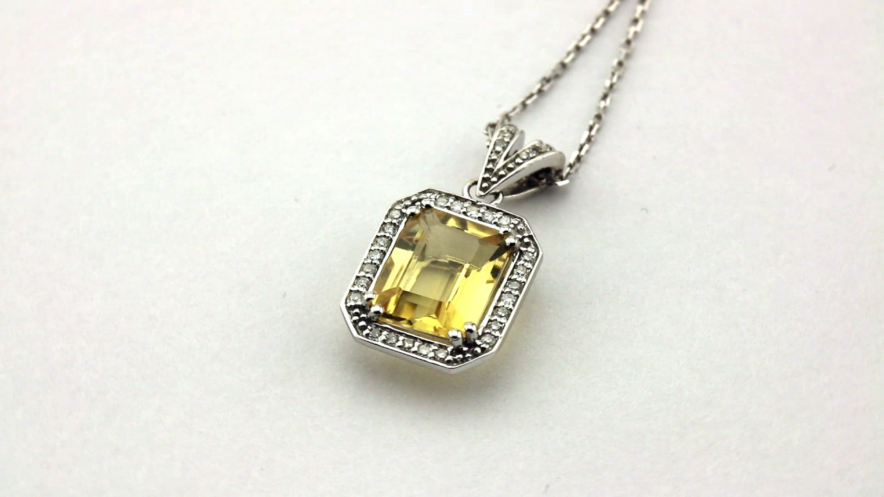 """Details about  /4.68 CTW 14K Solid White gold fine Citrine pearl Necklace 16/"""""""