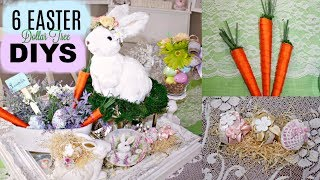 🐇6 DIY DOLLAR TREE EASTER SPRING DECOR CRAFTS🐇VIGNETTE, FLOWER ARRANGEMENT, CARROTS, EGGS