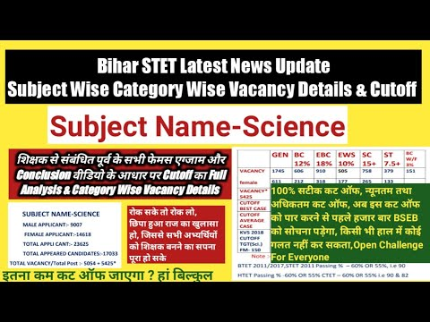 Bihar STET Science Category Wise Vacancy Details U0026 Cutoff,Applicants Appeared Candidates,STET