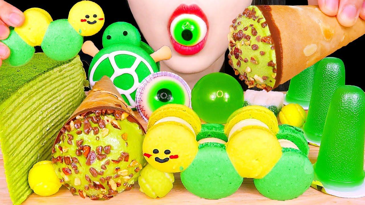 ASMR GREEN DESSERTS PARTY 초록색 디저트 먹방 咀嚼音 CREPE CAKE, ICE CREAM, JELLY 녹차크레이프 케이크, 아이스크림, 젤리 MUKBANG