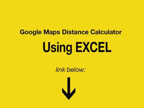 Google Maps Distance Calculator using Excel - YouTube on